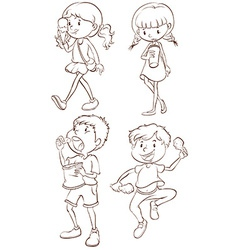 Simple sketches of kids taking their snacks vector image