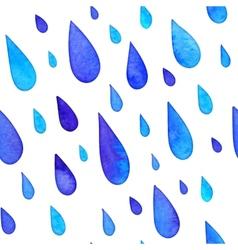 Watercolor painted rain drops seamless pattern vector image vector image
