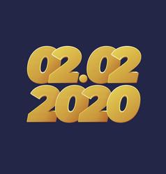 2 february 2020 banner golden luxury numbers vector image