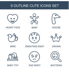 9 cute icons vector image