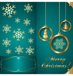 Abstart cyan blue Christmas Invitation Card vector image