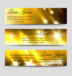 Abstract banners collection with golden flashes vector