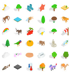 animal icons set isometric style vector image