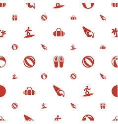 beach icons pattern seamless white background vector image
