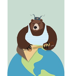 Bear from Russia In ear flaps playing the vector image