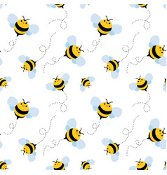 bee seamless pattern honey vector image