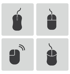 black computer mouse icons set vector image