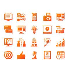 blog online simple gradient icons set vector image