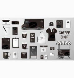 branding set for coffee shop cafe realistic vector image