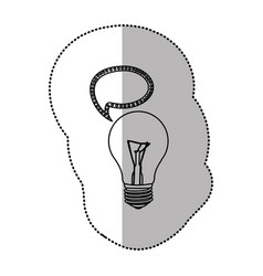 Bulb with bubble communication icon vector