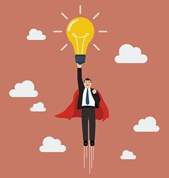 Businessman superhero holding creative lightbulb vector image