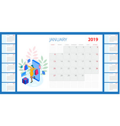 calendar 2019 set 12 months and shopping vector image