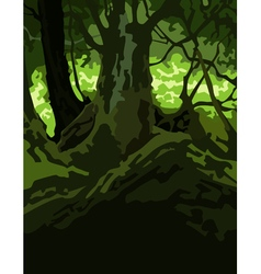 Cartoon background dense forest green vector