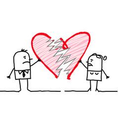 Cartoon couple with broken heart vector