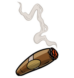 Cartoon lit cigar with smoke vector