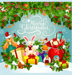 Christmas and new year poster of xmas holiday gift vector