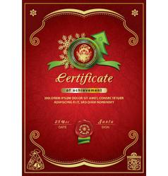 Christmas red certificate santa inside emblem vector
