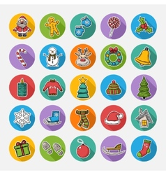 Christmas set icons vector image