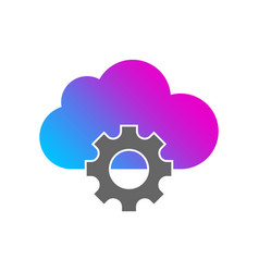 cloud storage settings flat icon web hosting vector image