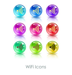 Color balls with wifi symbol app icon useful for vector