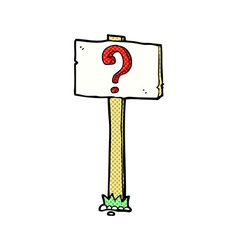 comic cartoon signpost with question mark vector image