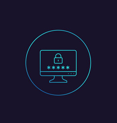 Computer with password access security concept vector
