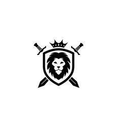 creative heraldic black lion head crown king vector image