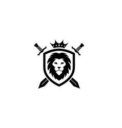 creative heraldic black lion head crown king vector image