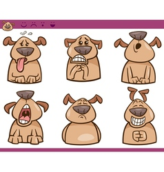 Dog emotions cartoon set vector
