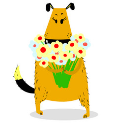 dog with a bouquet of flowers grateful mood cute vector image