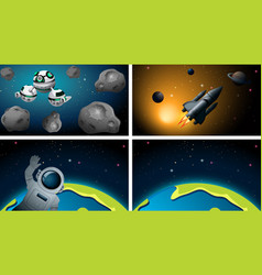 earth rocket and astronaut scene vector image