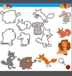 Educational activity with cute animals vector