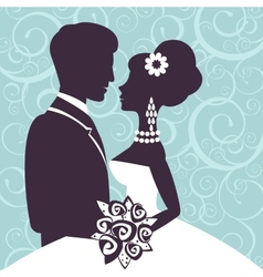 Elegant wedding couple in silhouette vector image vector image