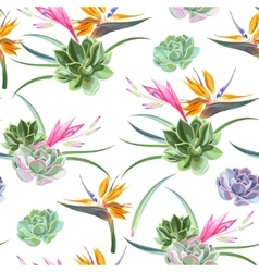 Exotic flowers and succulents seamless vector