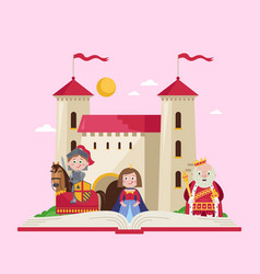 Fairytale poster in cartoon style vector