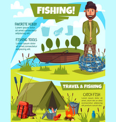 Fishing sport poster with fisherman and camping vector