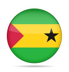 flag of sao tome and principe shiny round button vector image