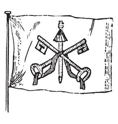 Flag of the papal states 1881 vintage vector