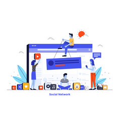 flat color modern design - social network vector image