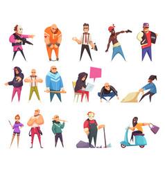 flat criminal characters set vector image