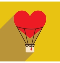 Flat web icon with long shadow air balloon heart vector