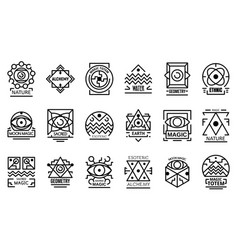 Geometric alchemy icons set outline style vector
