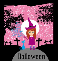 Girl witch charm cat vector