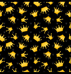 gold crowns on black seamless pattern vector image