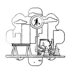 Grunge circle laborer embblem and forklift vector
