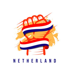 Hand and flag netherland template design vector