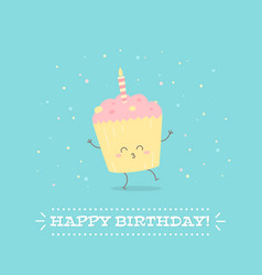happy birthday postcard with cheerful cupcake vector image