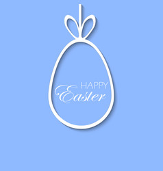 happy easter greeting card with white egg vector image
