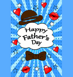 happy fathers day greeting card vintage retro pop vector image