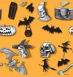 Happy halloween seamless pattern witch pumpkin vector